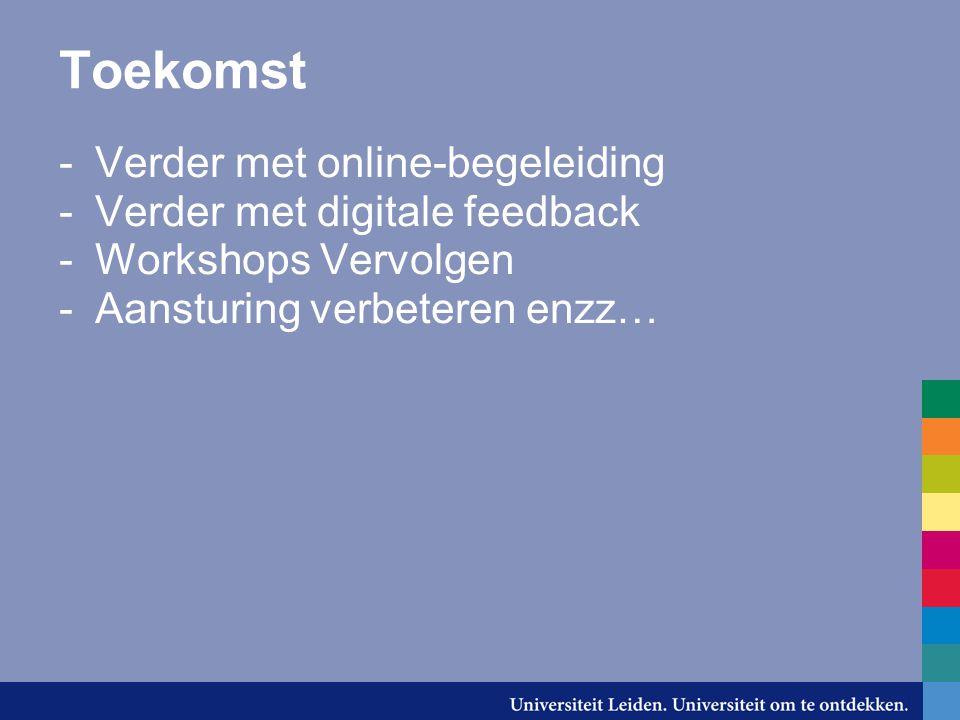 Toekomst -Verder met online-begeleiding -Verder met digitale feedback -Workshops Vervolgen -Aansturing verbeteren enzz…