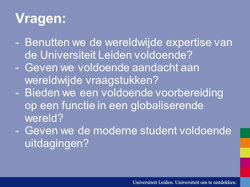Vragen: -Benutten we de wereldwijde expertise van de Universiteit Leiden voldoende.