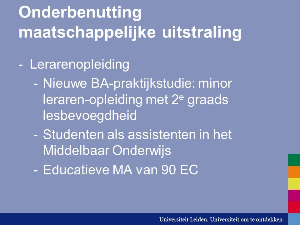 Onderbenutting maatschappelijke uitstraling -Lerarenopleiding -Nieuwe BA-praktijkstudie: minor leraren-opleiding met 2 e graads lesbevoegdheid -Studenten als assistenten in het Middelbaar Onderwijs -Educatieve MA van 90 EC