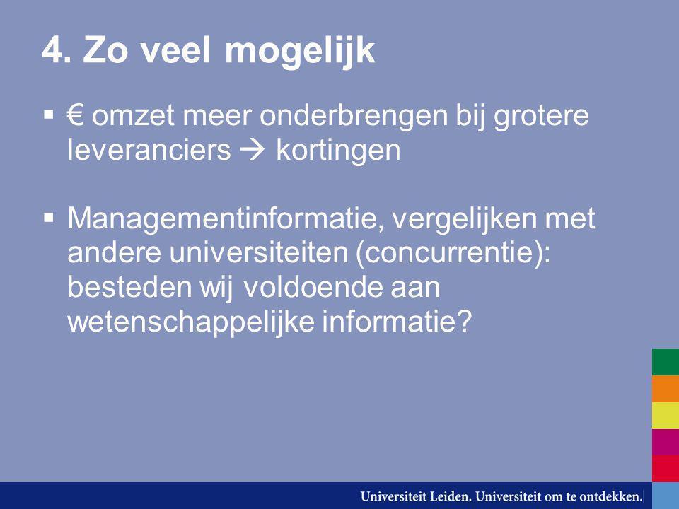 4. Zo veel mogelijk  € omzet meer onderbrengen bij grotere leveranciers  kortingen  Managementinformatie, vergelijken met andere universiteiten (co