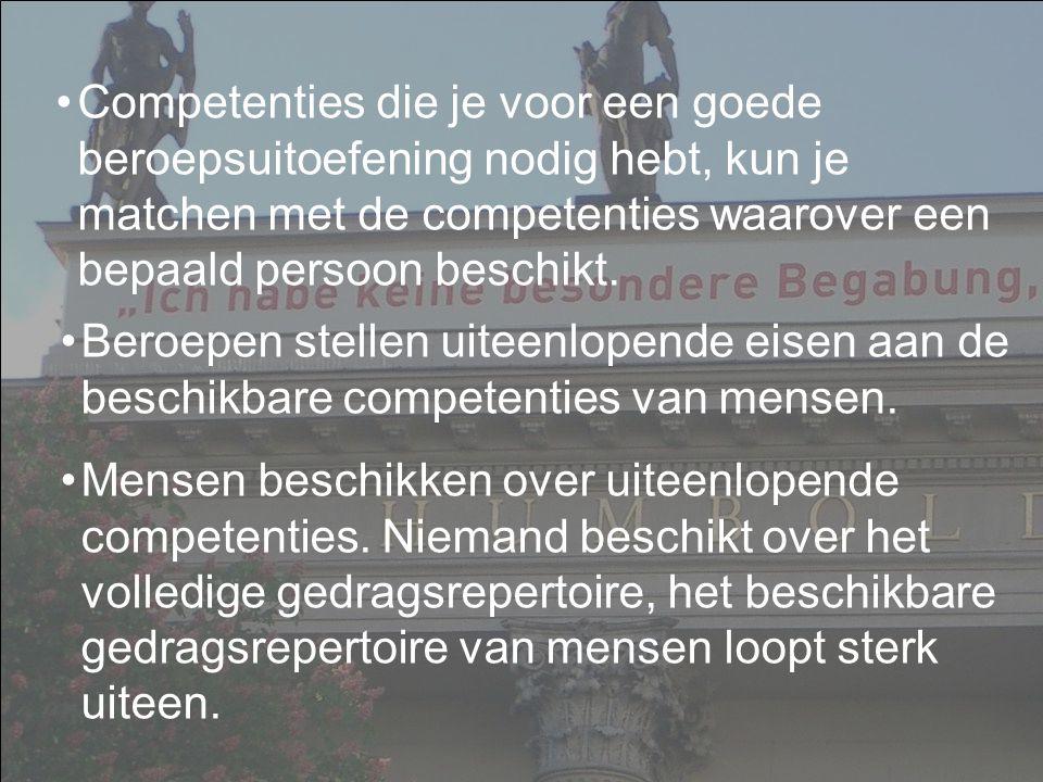 Peter Cras, april 2007 Beroepen stellen uiteenlopende eisen aan de beschikbare competenties van mensen.