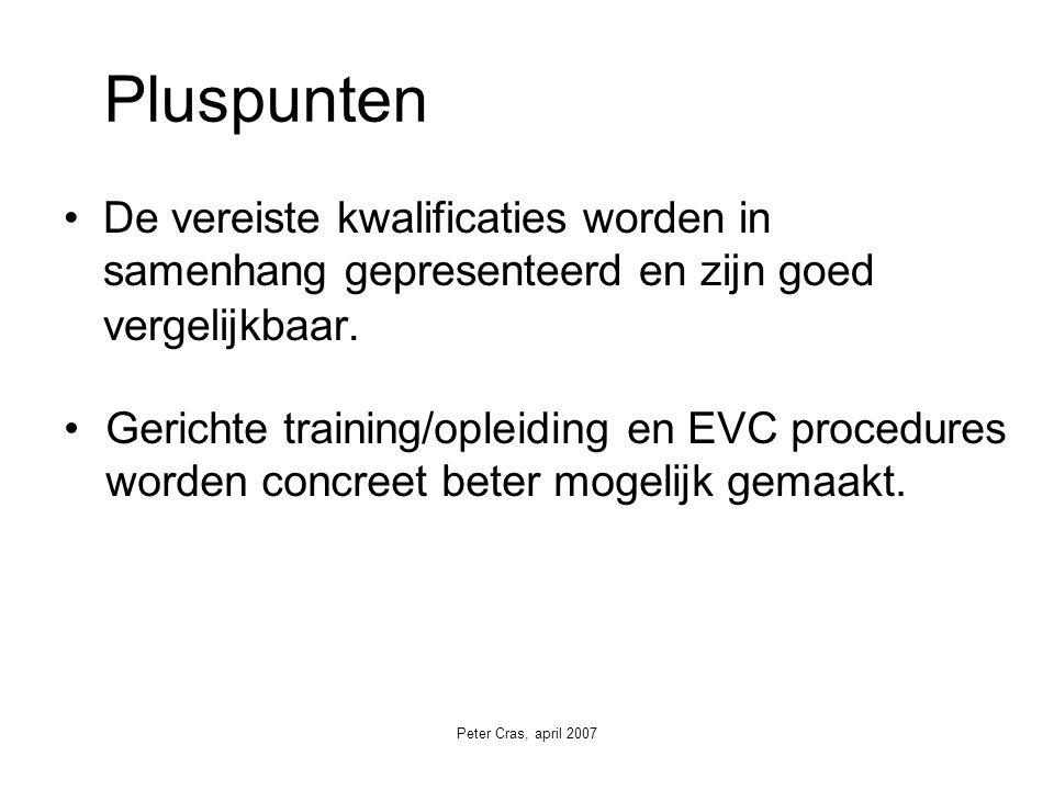 Peter Cras, april 2007 De vereiste kwalificaties worden in samenhang gepresenteerd en zijn goed vergelijkbaar.