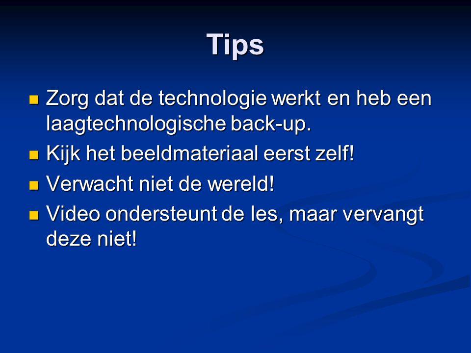 Tips Zorg dat de technologie werkt en heb een laagtechnologische back-up. Zorg dat de technologie werkt en heb een laagtechnologische back-up. Kijk he