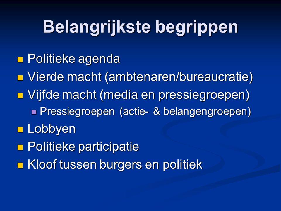 Belangrijkste begrippen Politieke agenda Politieke agenda Vierde macht (ambtenaren/bureaucratie) Vierde macht (ambtenaren/bureaucratie) Vijfde macht (