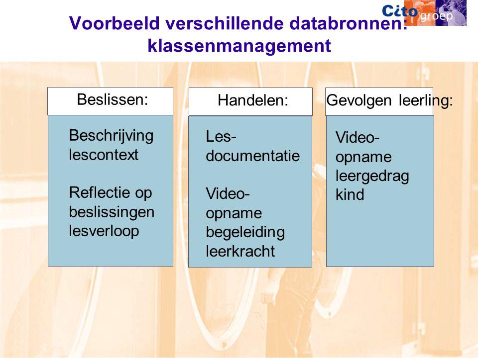 Voorbeeld verschillende databronnen: klassenmanagement Video- opname leergedrag kind Gevolgen leerling: Beschrijving lescontext Reflectie op beslissingen lesverloop Beslissen: Handelen: Les- documentatie Video- opname begeleiding leerkracht