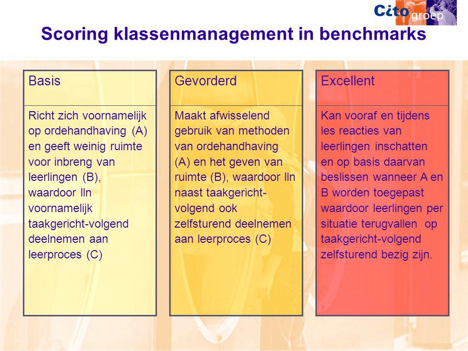 Scoring klassenmanagement in benchmarks Richt zich voornamelijk op ordehandhaving (A) en geeft weinig ruimte voor inbreng van leerlingen (B), waardoor lln voornamelijk taakgericht-volgend deelnemen aan leerproces (C) Basis Maakt afwisselend gebruik van methoden van ordehandhaving (A) en het geven van ruimte (B), waardoor lln naast taakgericht- volgend ook zelfsturend deelnemen aan leerproces (C) Gevorderd Kan vooraf en tijdens les reacties van leerlingen inschatten en op basis daarvan beslissen wanneer A en B worden toegepast waardoor leerlingen per situatie terugvallen op taakgericht-volgend zelfsturend bezig zijn.