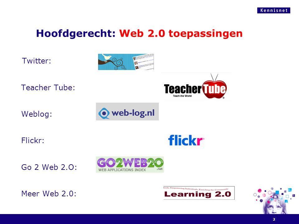 Hoofdgerecht: Web 2.0 toepassingen Twitter: Teacher Tube: Weblog: Flickr: Go 2 Web 2.O: Meer Web 2.0: 2