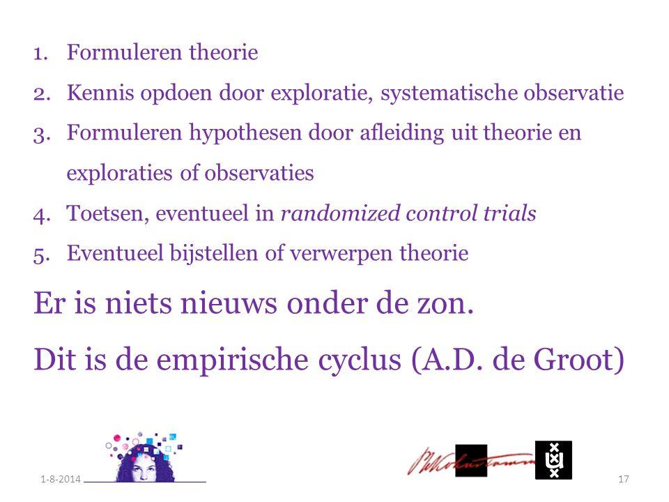1-8-201417 1.Formuleren theorie 2.Kennis opdoen door exploratie, systematische observatie 3.Formuleren hypothesen door afleiding uit theorie en explor