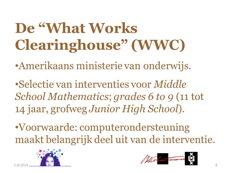 """De """"What Works Clearinghouse"""" (WWC) Amerikaans ministerie van onderwijs. Selectie van interventies voor Middle School Mathematics; grades 6 to 9 (11 t"""