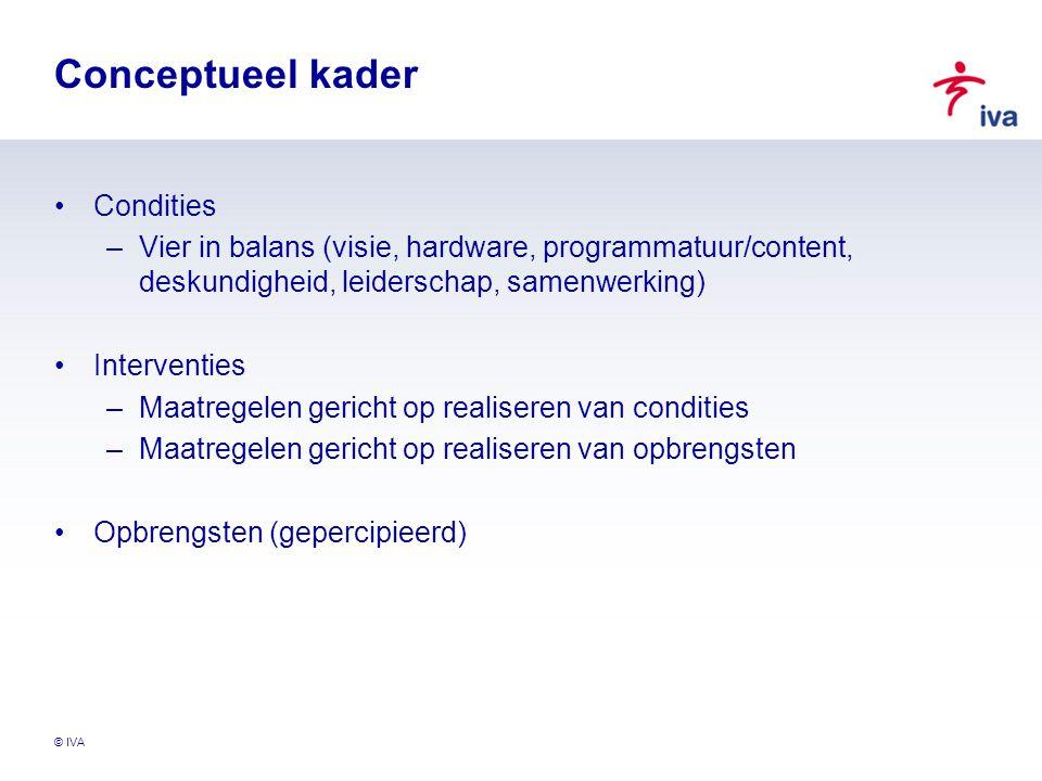 © IVA Conceptueel kader Condities –Vier in balans (visie, hardware, programmatuur/content, deskundigheid, leiderschap, samenwerking) Interventies –Maa