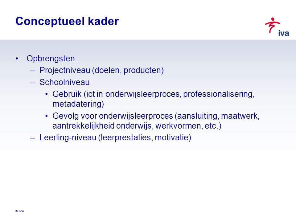 © IVA Conceptueel kader Opbrengsten –Projectniveau (doelen, producten) –Schoolniveau Gebruik (ict in onderwijsleerproces, professionalisering, metadat
