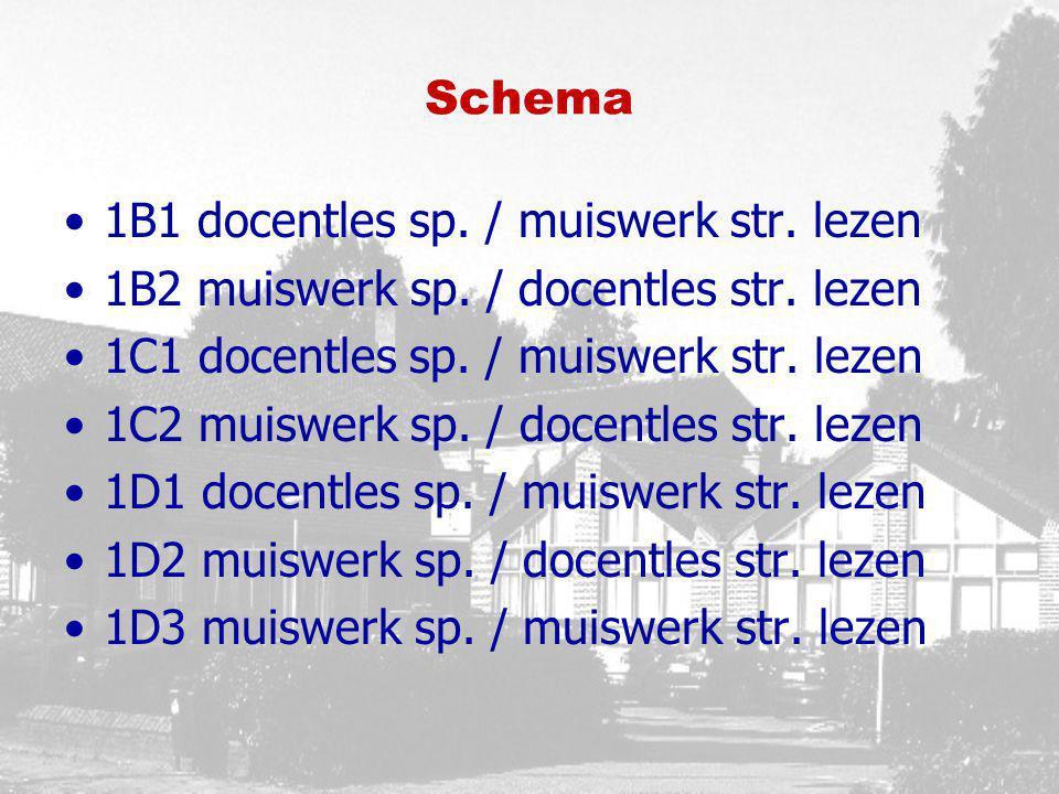 Schema 1B1 docentles sp. / muiswerk str. lezen 1B2 muiswerk sp. / docentles str. lezen 1C1 docentles sp. / muiswerk str. lezen 1C2 muiswerk sp. / doce