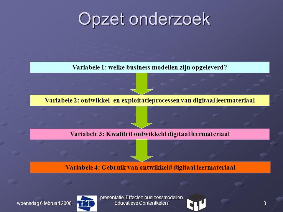 3woensdag 6 februari 2008 presentatie 'Effecten businessmodellen Educatieve Contentketen' Opzet onderzoek Variabele 1: welke business modellen zijn op