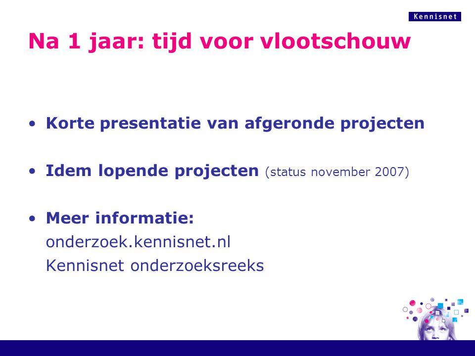 Na 1 jaar: tijd voor vlootschouw Korte presentatie van afgeronde projecten Idem lopende projecten (status november 2007) Meer informatie: onderzoek.kennisnet.nl Kennisnet onderzoeksreeks