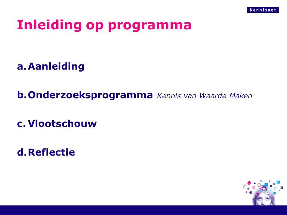 Inleiding op programma a.Aanleiding b.Onderzoeksprogramma Kennis van Waarde Maken c.Vlootschouw d.Reflectie