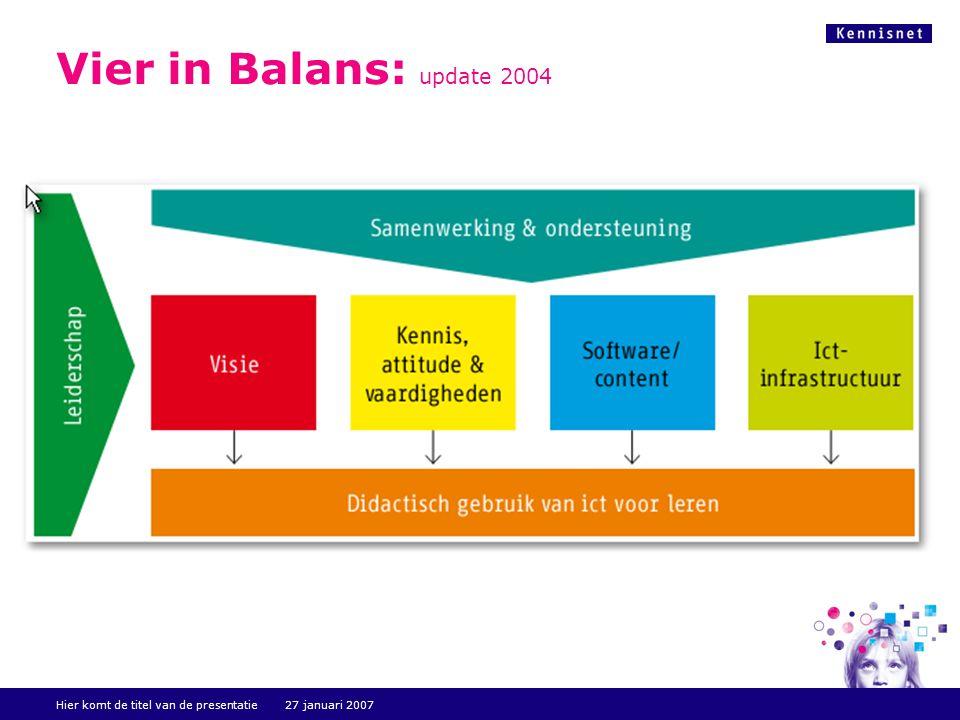 Hier komt de titel van de presentatie 27 januari 2007 Vier in Balans: update 2004