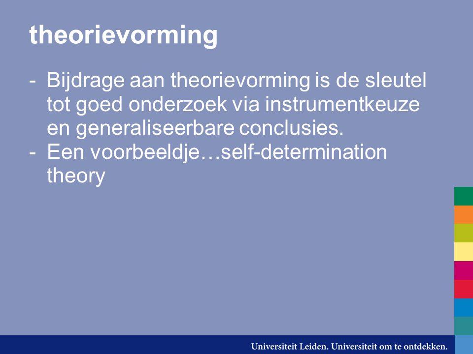 theorievorming -Bijdrage aan theorievorming is de sleutel tot goed onderzoek via instrumentkeuze en generaliseerbare conclusies. -Een voorbeeldje…self