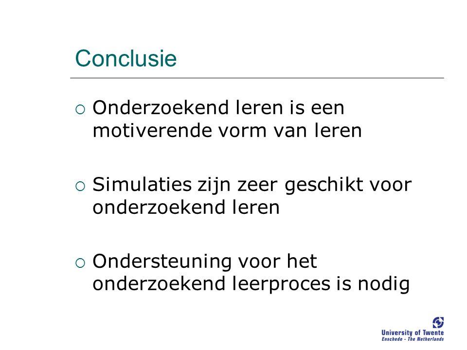 Conclusie  Onderzoekend leren is een motiverende vorm van leren  Simulaties zijn zeer geschikt voor onderzoekend leren  Ondersteuning voor het onderzoekend leerproces is nodig
