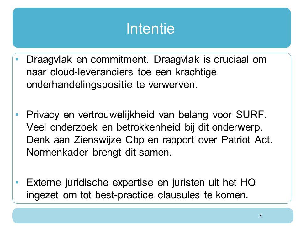 3 Intentie Draagvlak en commitment. Draagvlak is cruciaal om naar cloud-leveranciers toe een krachtige onderhandelingspositie te verwerven. Privacy en