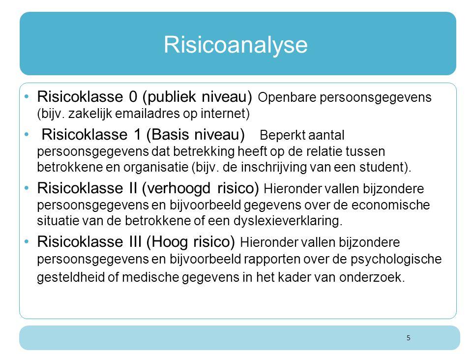 5 Risicoanalyse Risicoklasse 0 (publiek niveau) Openbare persoonsgegevens (bijv. zakelijk emailadres op internet) Risicoklasse 1 (Basis niveau) Beperk