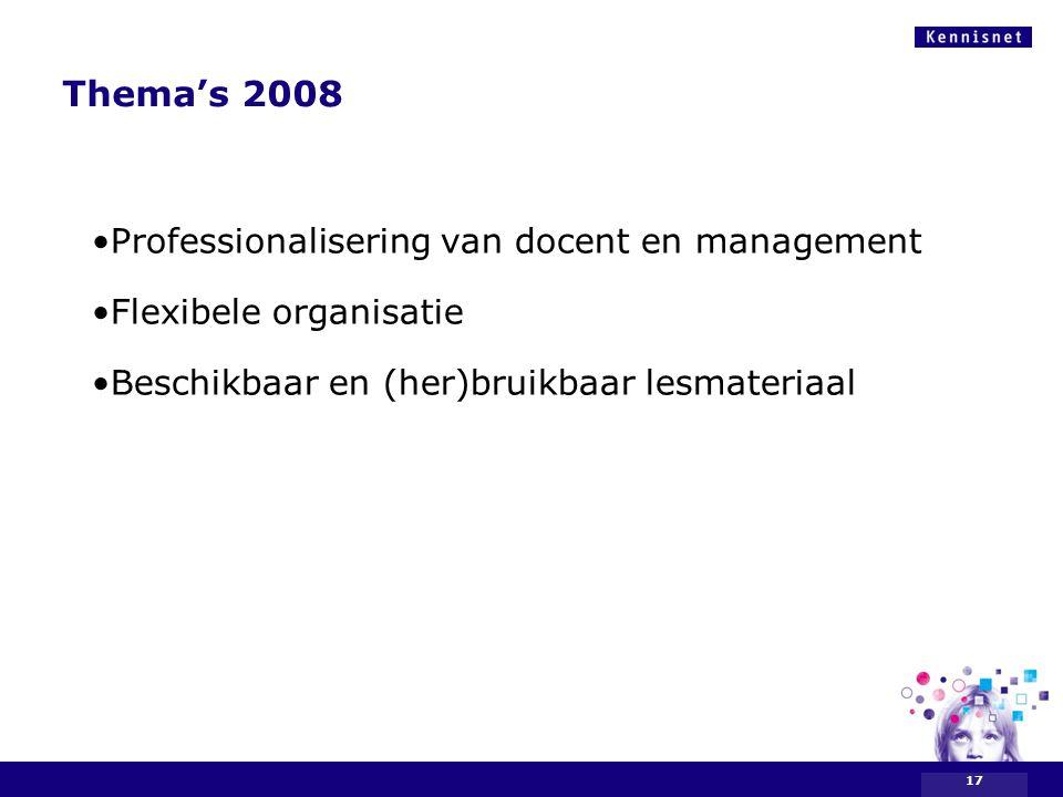 Thema's 2008 Professionalisering van docent en management Flexibele organisatie Beschikbaar en (her)bruikbaar lesmateriaal 17
