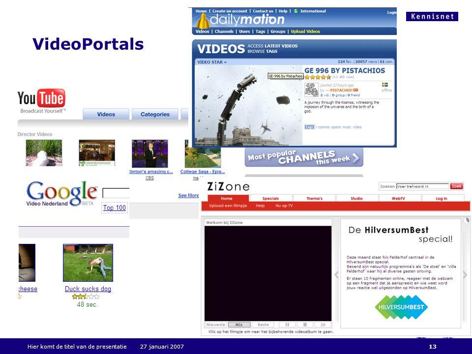 Hier komt de titel van de presentatie 27 januari 200713 VideoPortals