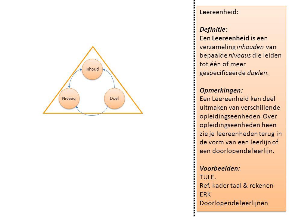 Leereenheid: Definitie: Een Leereenheid is een verzameling inhouden van bepaalde niveaus die leiden tot één of meer gespecificeerde doelen. Opmerkinge