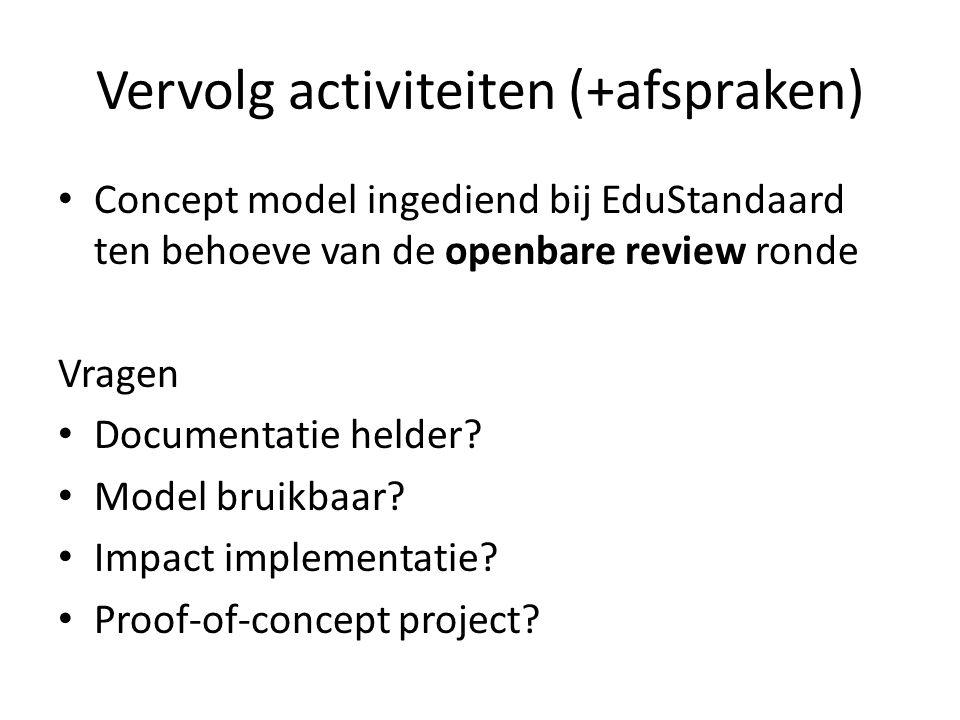 Vervolg activiteiten (+afspraken) Concept model ingediend bij EduStandaard ten behoeve van de openbare review ronde Vragen Documentatie helder? Model