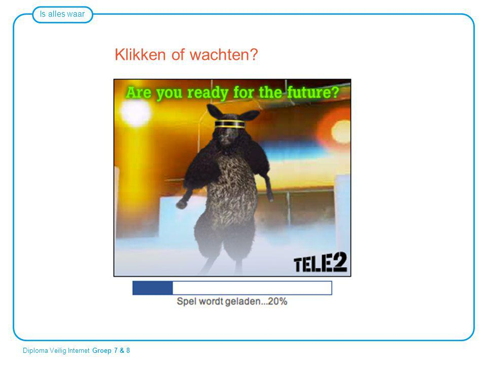Is alles waar Diploma Veilig Internet Groep 7 & 8 Klikken of wachten?