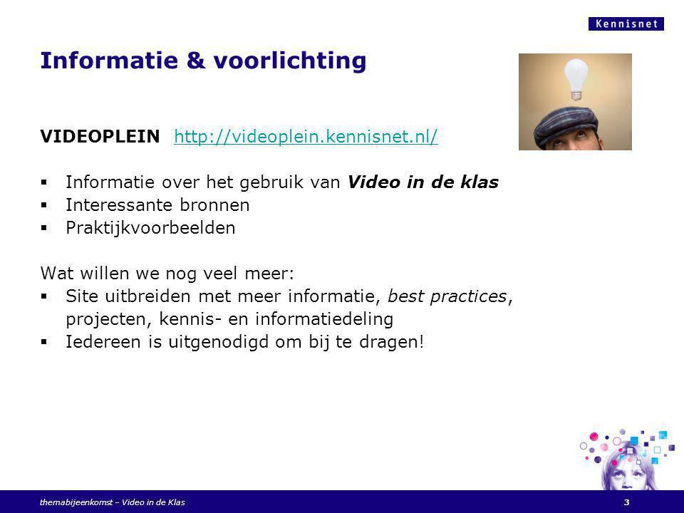 Videoconferencing: twee varianten  met een VC set  met de webcam Kennisnet Videoconferencing portaal – voor al uw vragen.