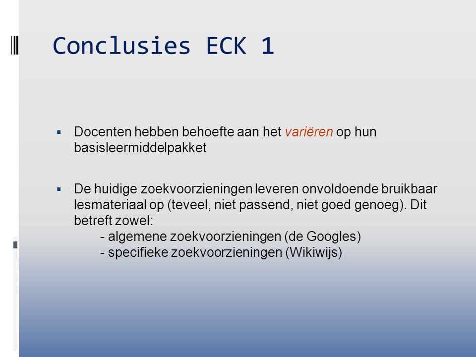 Conclusies ECK 1  Docenten hebben behoefte aan het variëren op hun basisleermiddelpakket  De huidige zoekvoorzieningen leveren onvoldoende bruikbaar lesmateriaal op (teveel, niet passend, niet goed genoeg).