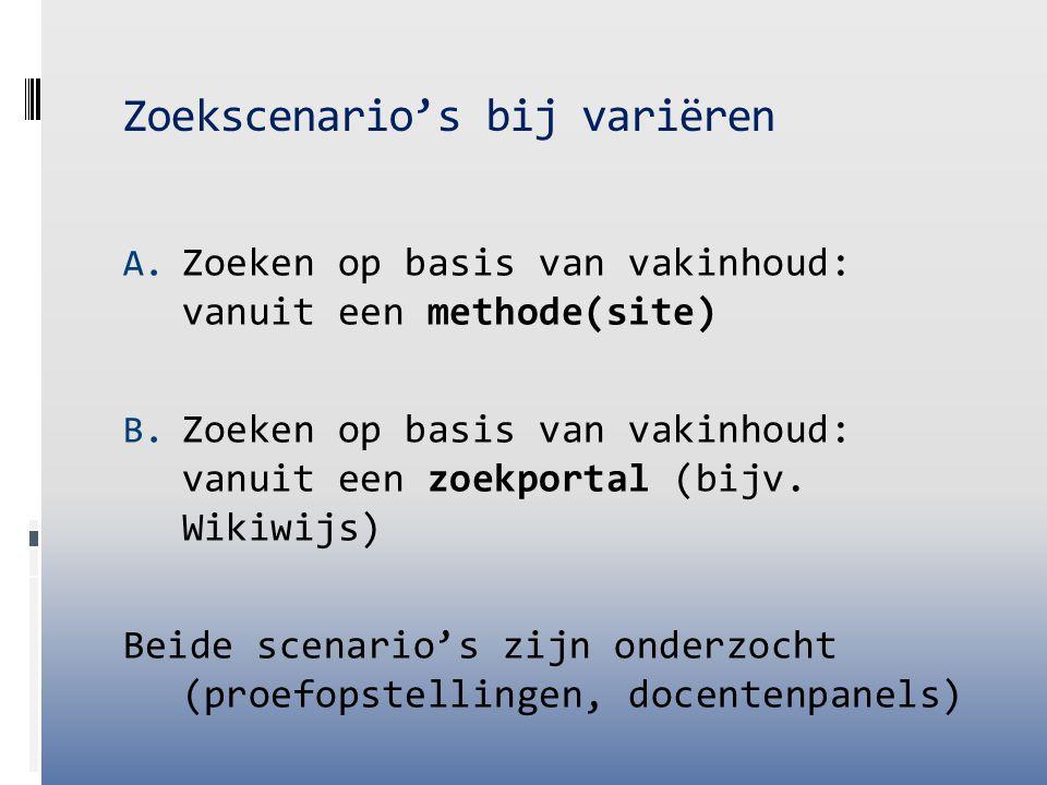 Zoekscenario's bij variëren A. Zoeken op basis van vakinhoud: vanuit een methode(site) B. Zoeken op basis van vakinhoud: vanuit een zoekportal (bijv.