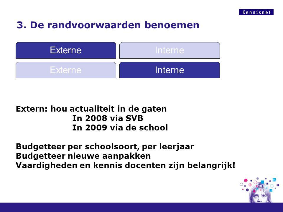 3. De randvoorwaarden benoemen Extern: hou actualiteit in de gaten In 2008 via SVB In 2009 via de school Budgetteer per schoolsoort, per leerjaar Budg