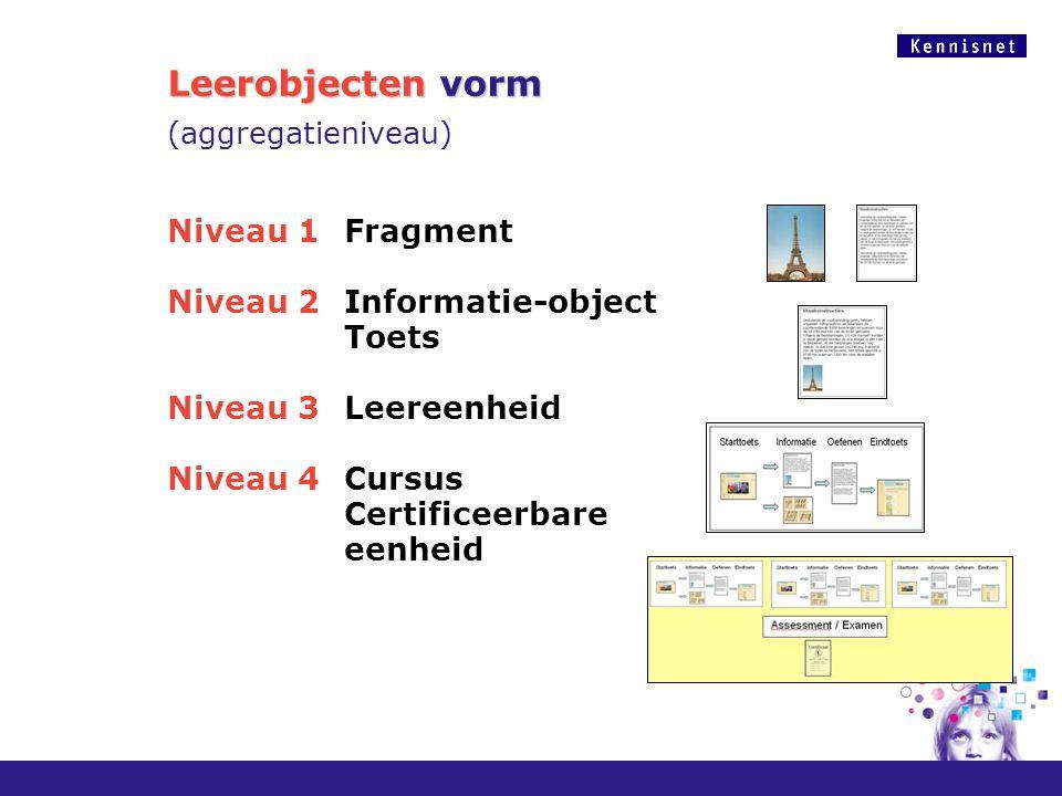 Leerobjecten vorm Leerobjecten vorm (aggregatieniveau) Niveau 1Fragment Niveau 2 Informatie-object Toets Niveau 3 Leereenheid Niveau 4 Cursus Certific