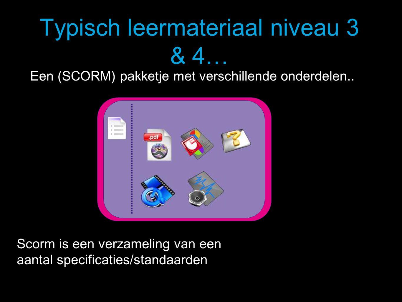 Typisch leermateriaal niveau 3 & 4… Scorm is een verzameling van een aantal specificaties/standaarden Een (SCORM) pakketje met verschillende onderdelen..