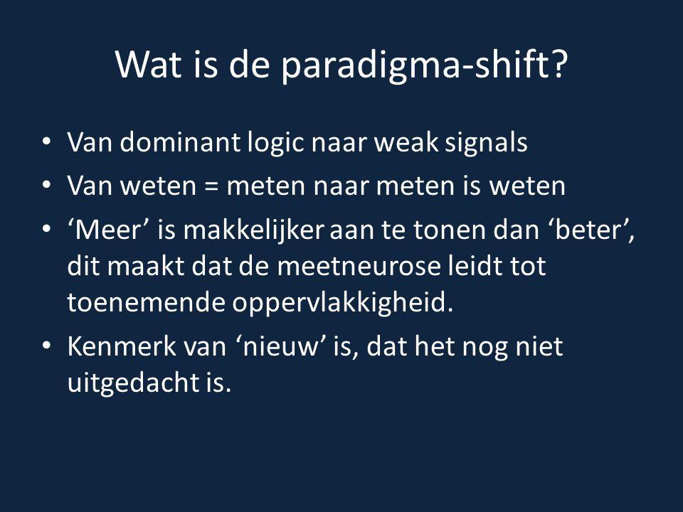 Wat is de paradigma-shift? Van dominant logic naar weak signals Van weten = meten naar meten is weten 'Meer' is makkelijker aan te tonen dan 'beter',