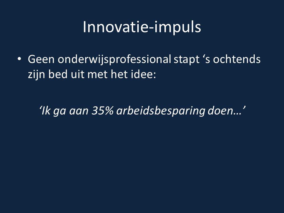 Innovatie-impuls Geen onderwijsprofessional stapt 's ochtends zijn bed uit met het idee: 'Ik ga aan 35% arbeidsbesparing doen…'