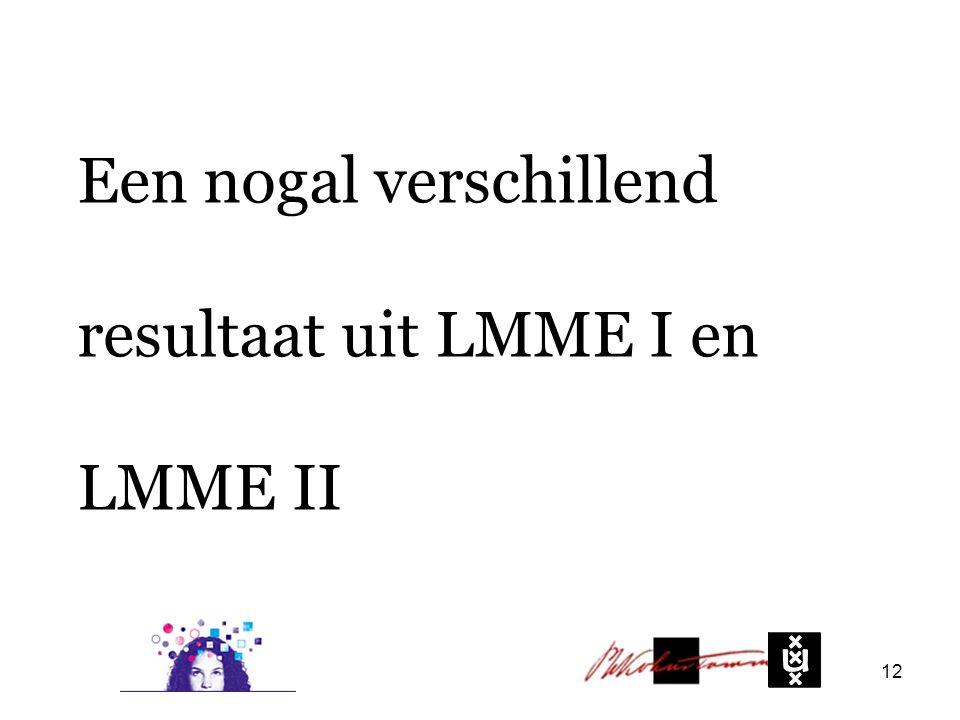 Een nogal verschillend resultaat uit LMME I en LMME II 12