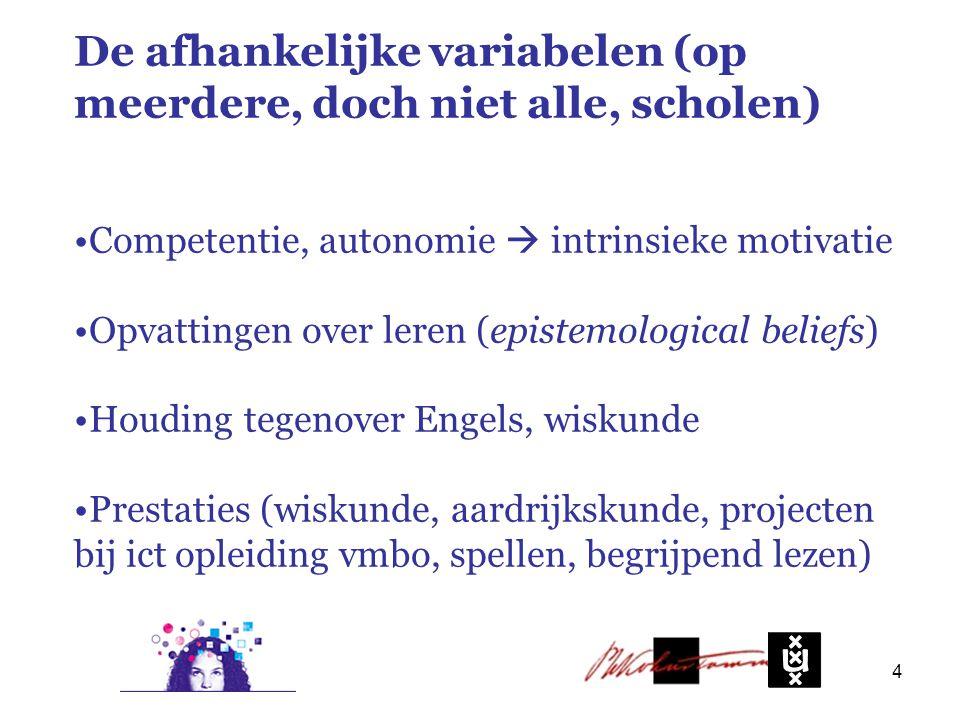 De afhankelijke variabelen (op meerdere, doch niet alle, scholen) Competentie, autonomie  intrinsieke motivatie Opvattingen over leren (epistemological beliefs) Houding tegenover Engels, wiskunde Prestaties (wiskunde, aardrijkskunde, projecten bij ict opleiding vmbo, spellen, begrijpend lezen) 4