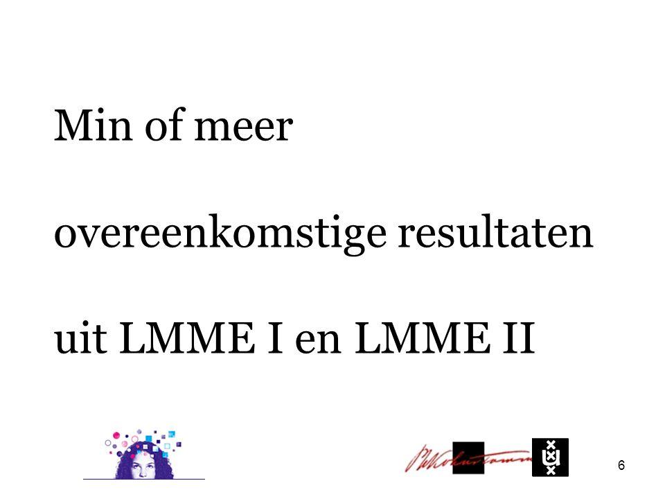 Min of meer overeenkomstige resultaten uit LMME I en LMME II 6