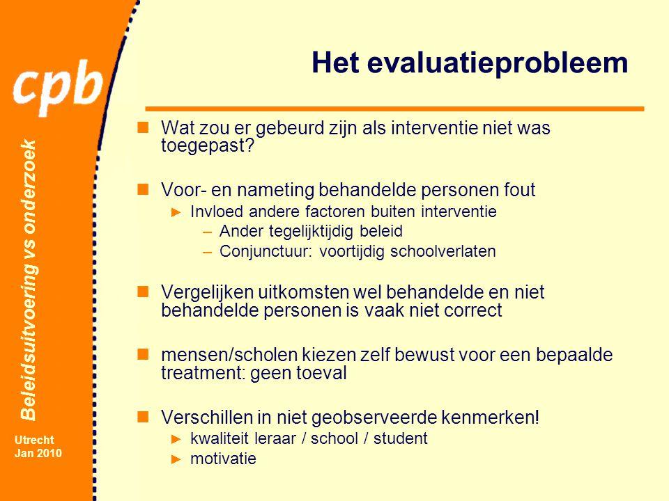 Beleidsuitvoering vs onderzoek Utrecht Jan 2010 Het evaluatieprobleem Wat zou er gebeurd zijn als interventie niet was toegepast.