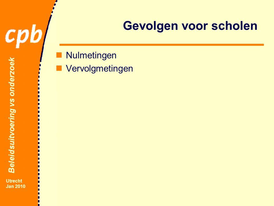 Beleidsuitvoering vs onderzoek Utrecht Jan 2010 Gevolgen voor scholen Nulmetingen Vervolgmetingen