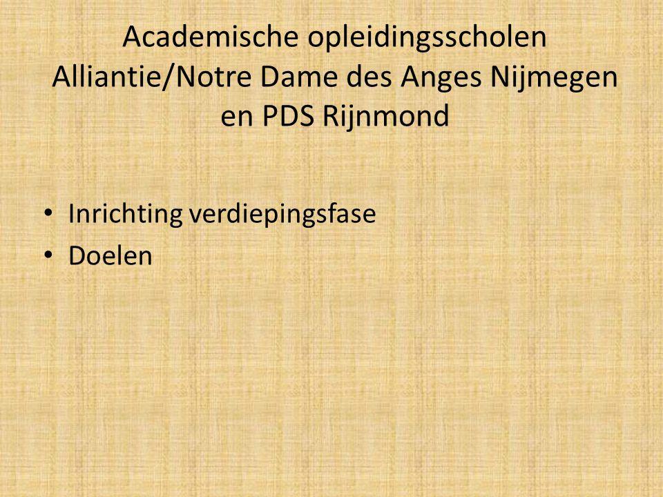 Academische opleidingsscholen Alliantie/Notre Dame des Anges Nijmegen en PDS Rijnmond Inrichting verdiepingsfase Doelen