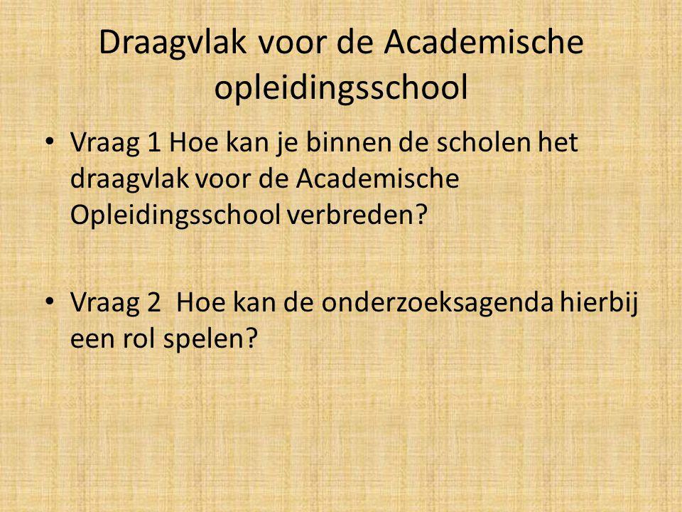 Draagvlak voor de Academische opleidingsschool Vraag 1 Hoe kan je binnen de scholen het draagvlak voor de Academische Opleidingsschool verbreden.