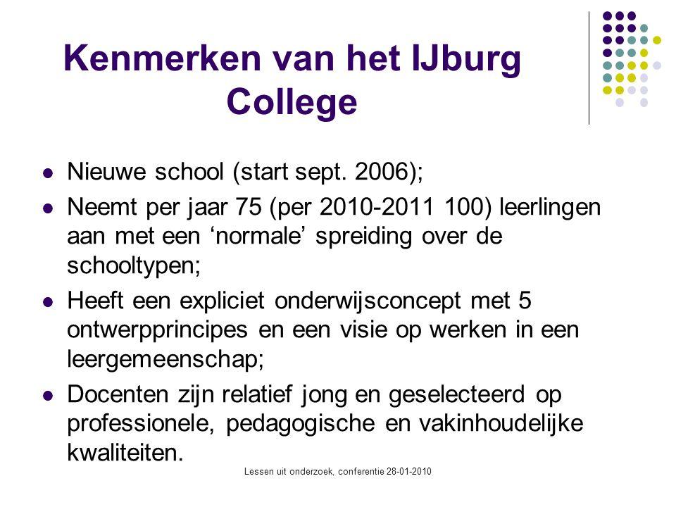 Lessen uit onderzoek, conferentie 28-01-2010 Kenmerken van het IJburg College Nieuwe school (start sept. 2006); Neemt per jaar 75 (per 2010-2011 100)
