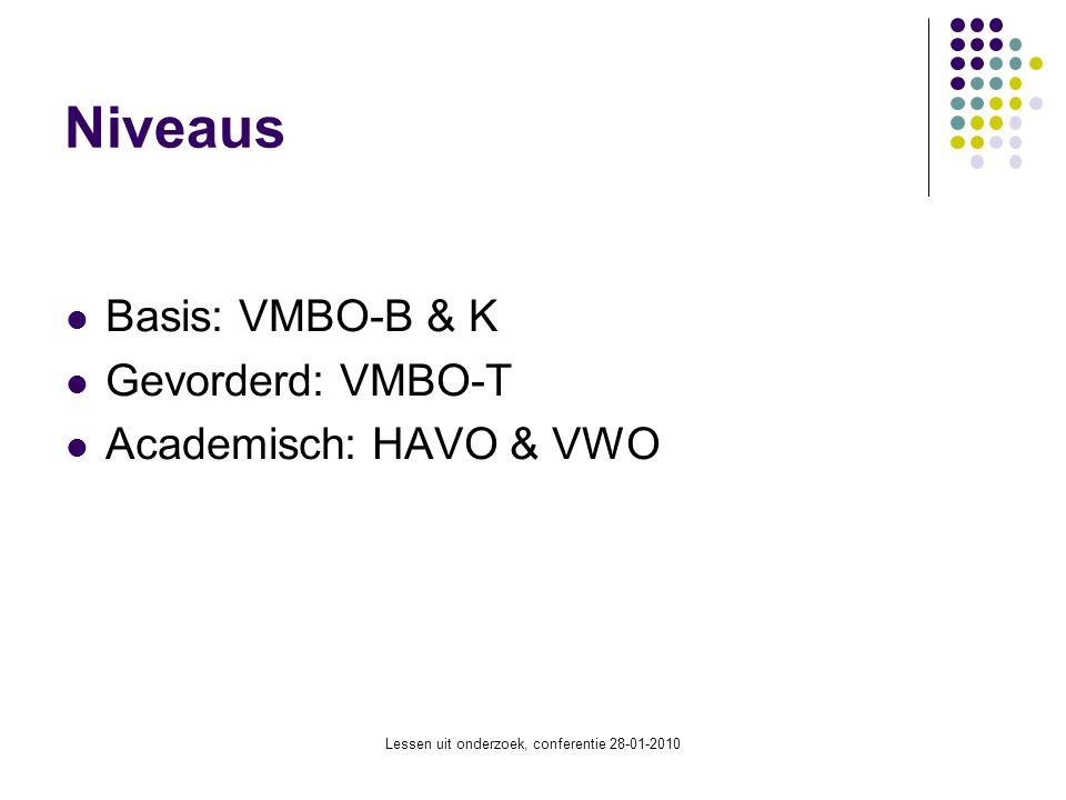 Lessen uit onderzoek, conferentie 28-01-2010 Niveaus Basis: VMBO-B & K Gevorderd: VMBO-T Academisch: HAVO & VWO