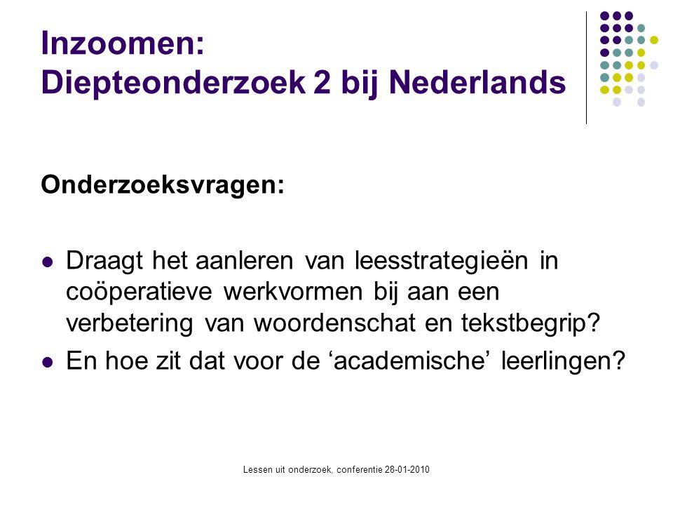 Lessen uit onderzoek, conferentie 28-01-2010 Inzoomen: Diepteonderzoek 2 bij Nederlands Onderzoeksvragen: Draagt het aanleren van leesstrategieën in c