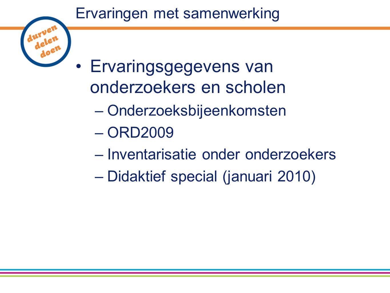 Ervaringen met samenwerking Ervaringsgegevens van onderzoekers en scholen –Onderzoeksbijeenkomsten –ORD2009 –Inventarisatie onder onderzoekers –Didaktief special (januari 2010)