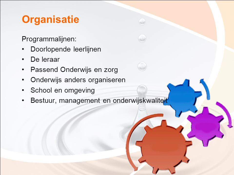 Organisatie Programmalijnen: Doorlopende leerlijnen De leraar Passend Onderwijs en zorg Onderwijs anders organiseren School en omgeving Bestuur, manag
