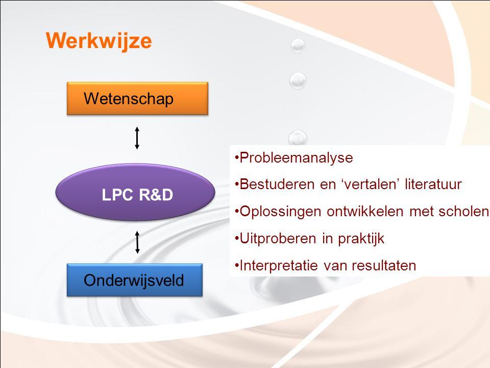 Werkwijze Onderwijsveld Wetenschap LPC R&D Probleemanalyse Bestuderen en 'vertalen' literatuur Oplossingen ontwikkelen met scholen Uitproberen in prak